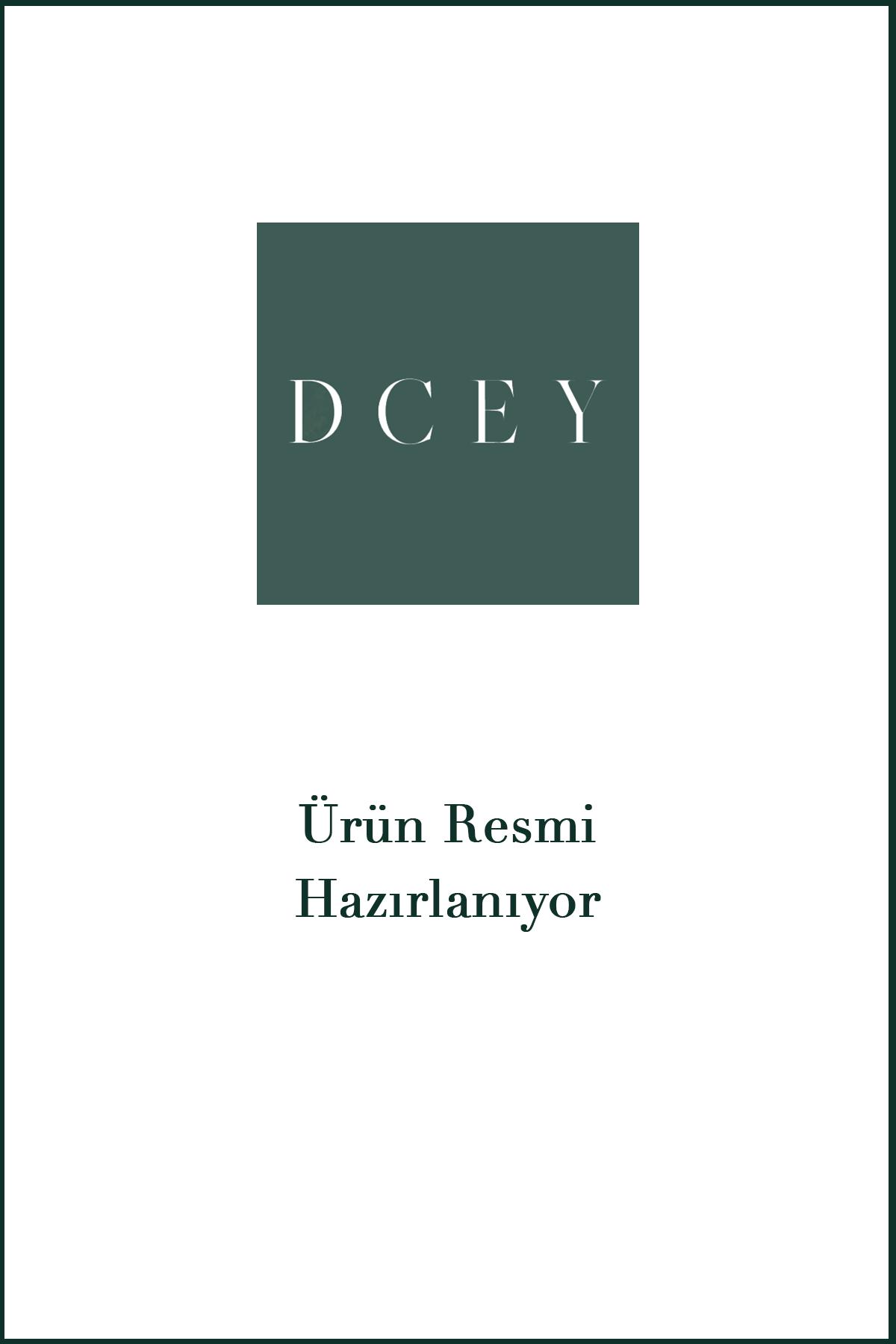 DCEY Kristal Taş Baskılı Saks Mavi Elbise