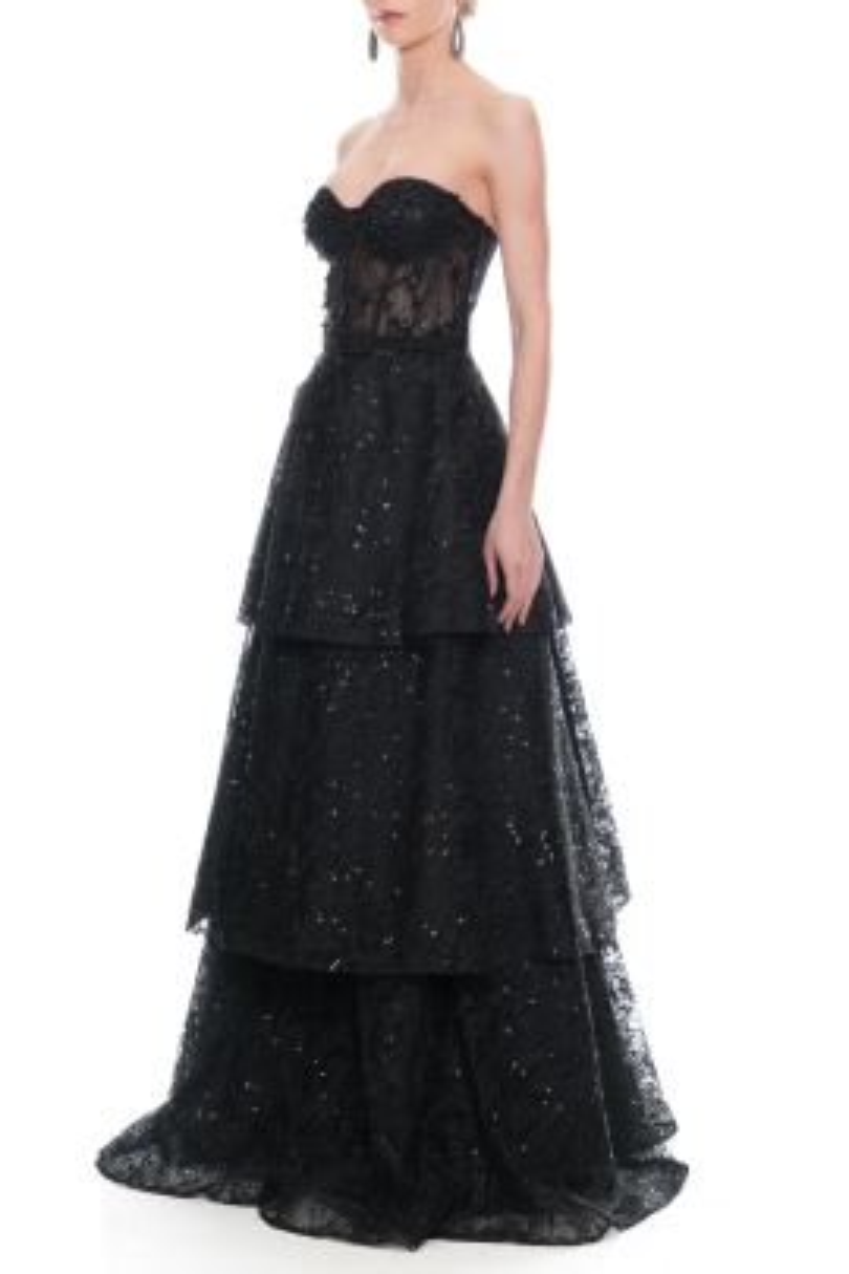 Melanie Siyah Straplez Elbise