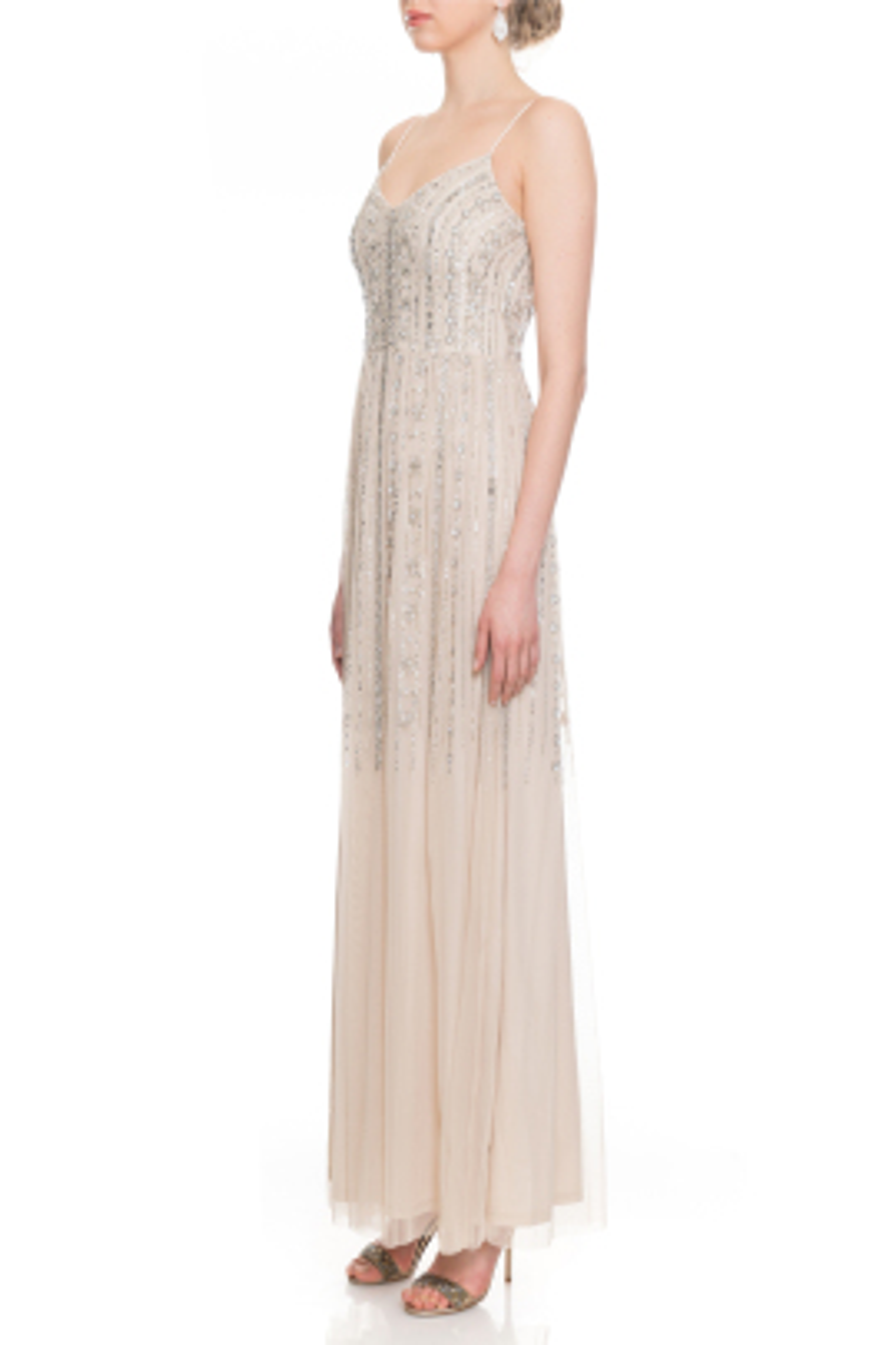 Beaded Bej Askılı Elbise