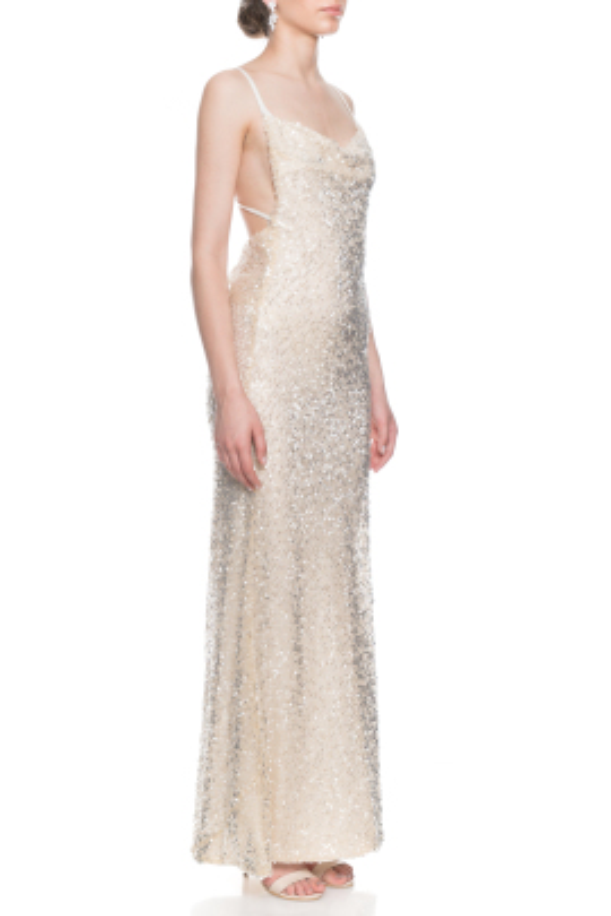 Paillette Whiteley Beyaz Elbise