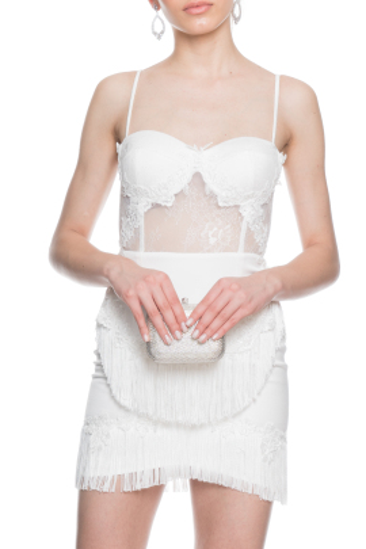Beyaz Dantel Kokteyl Elbise
