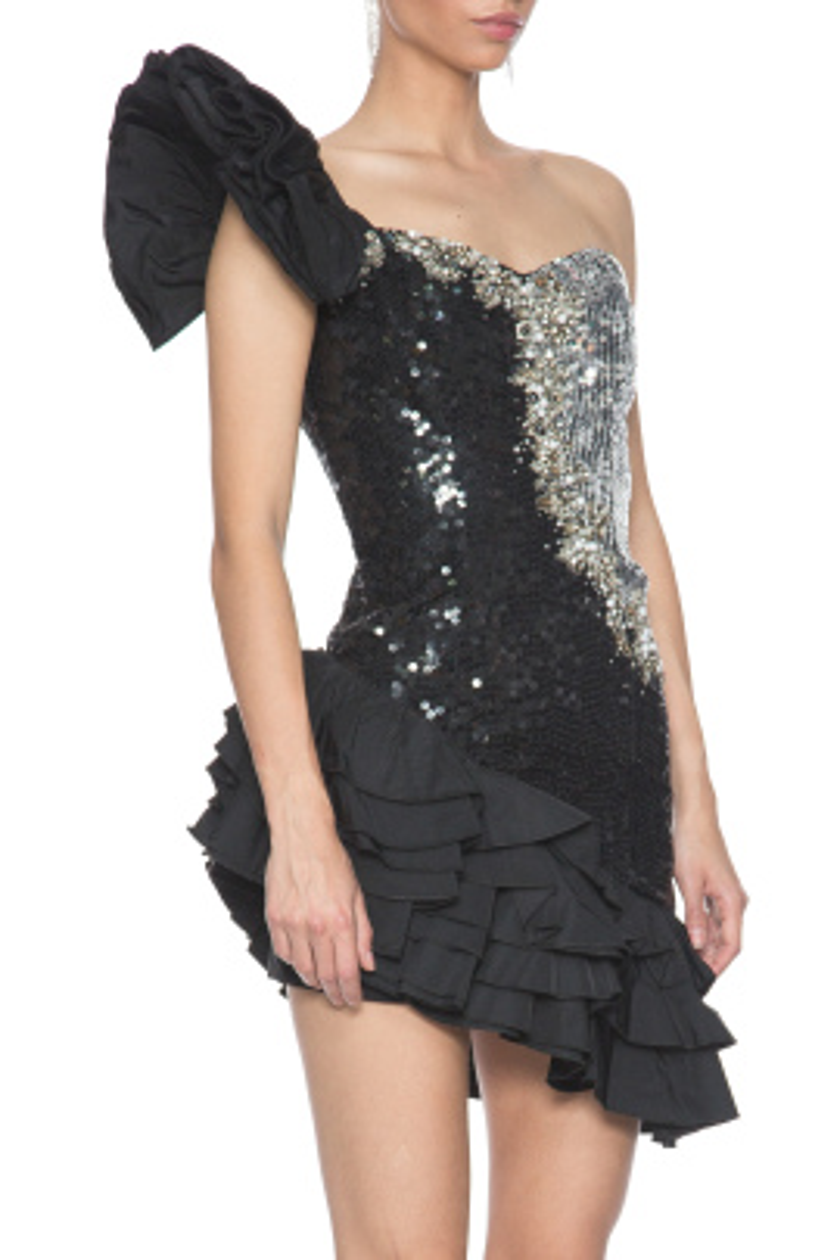 Ruffled Sequin Elbise