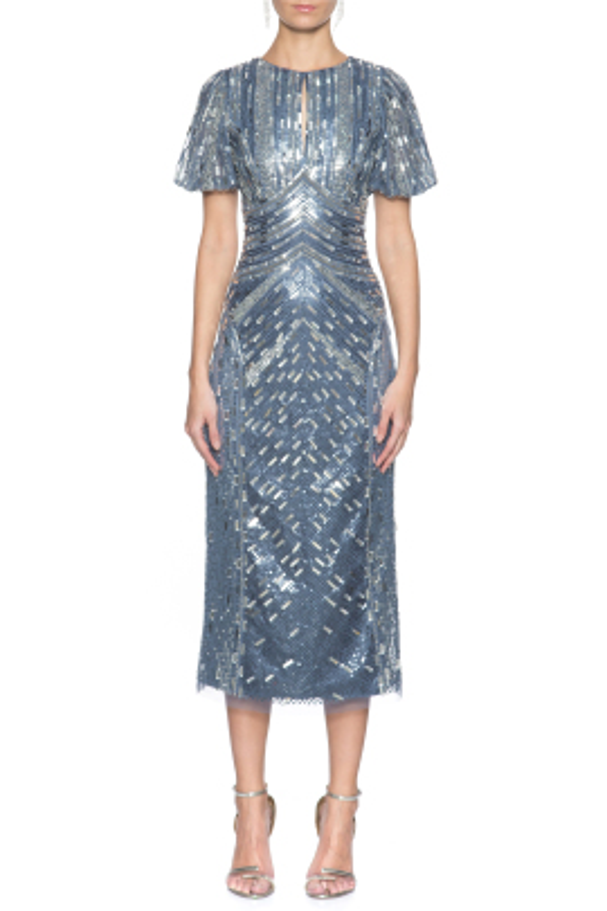 Payet İşlemeli Midi Elbise