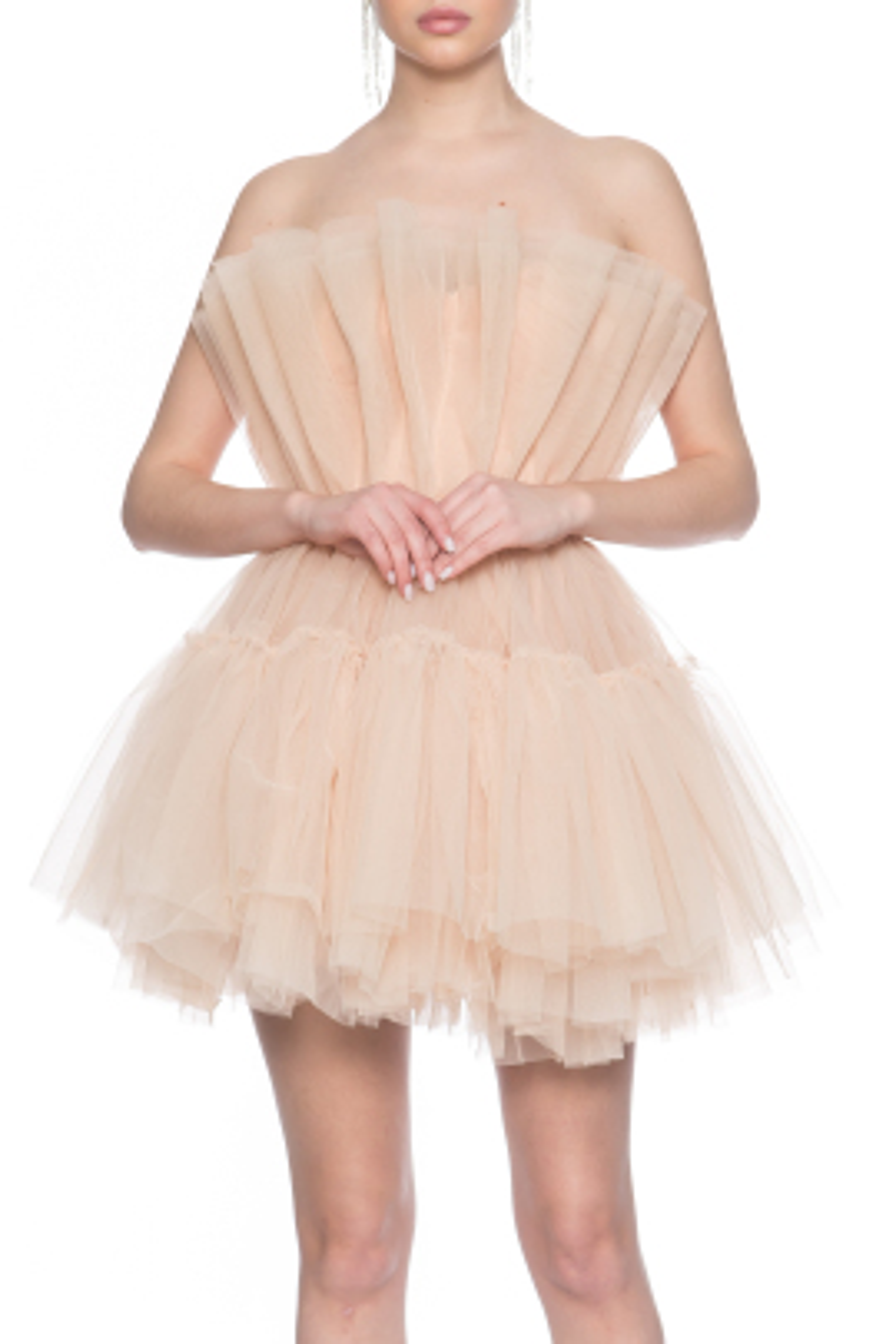Gia Nude Tül Elbise