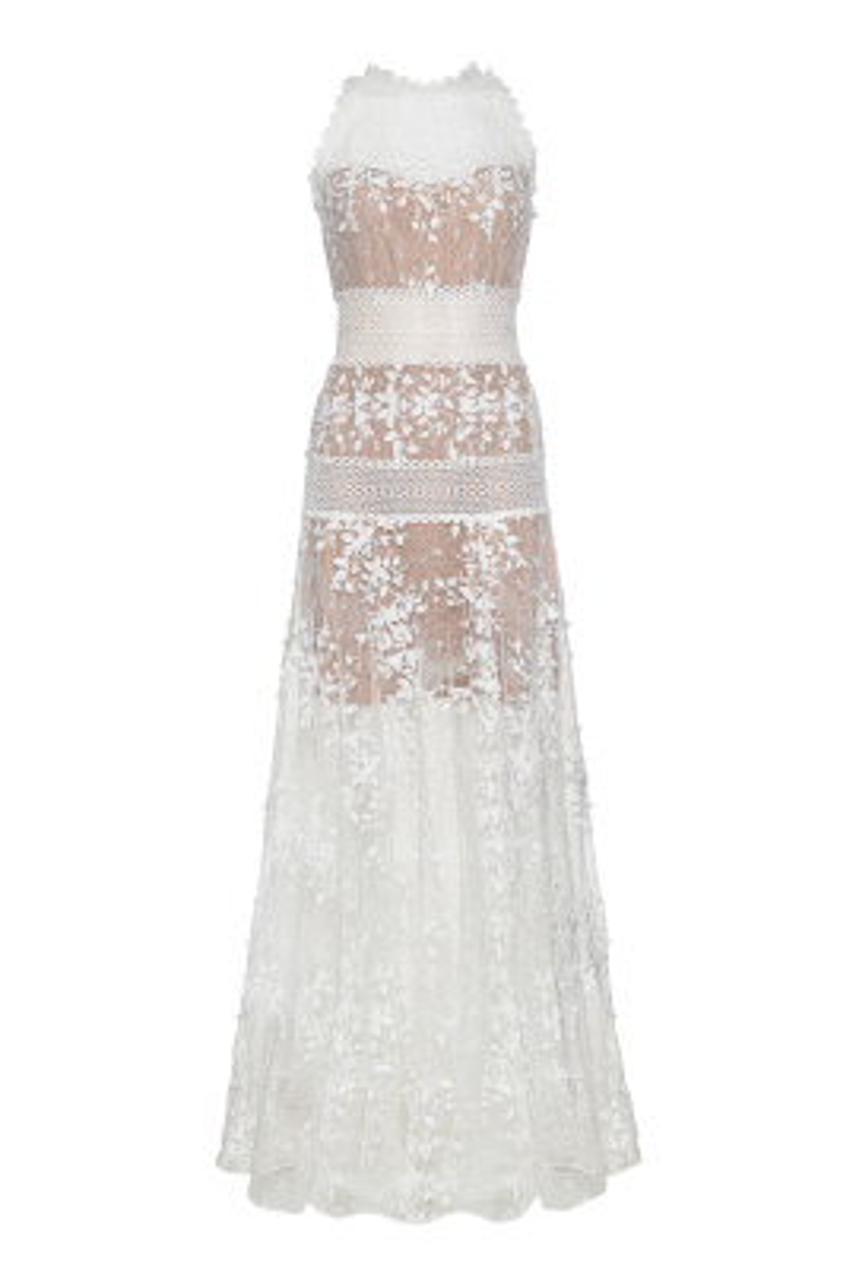 Megan Beyaz Uzun Elbise