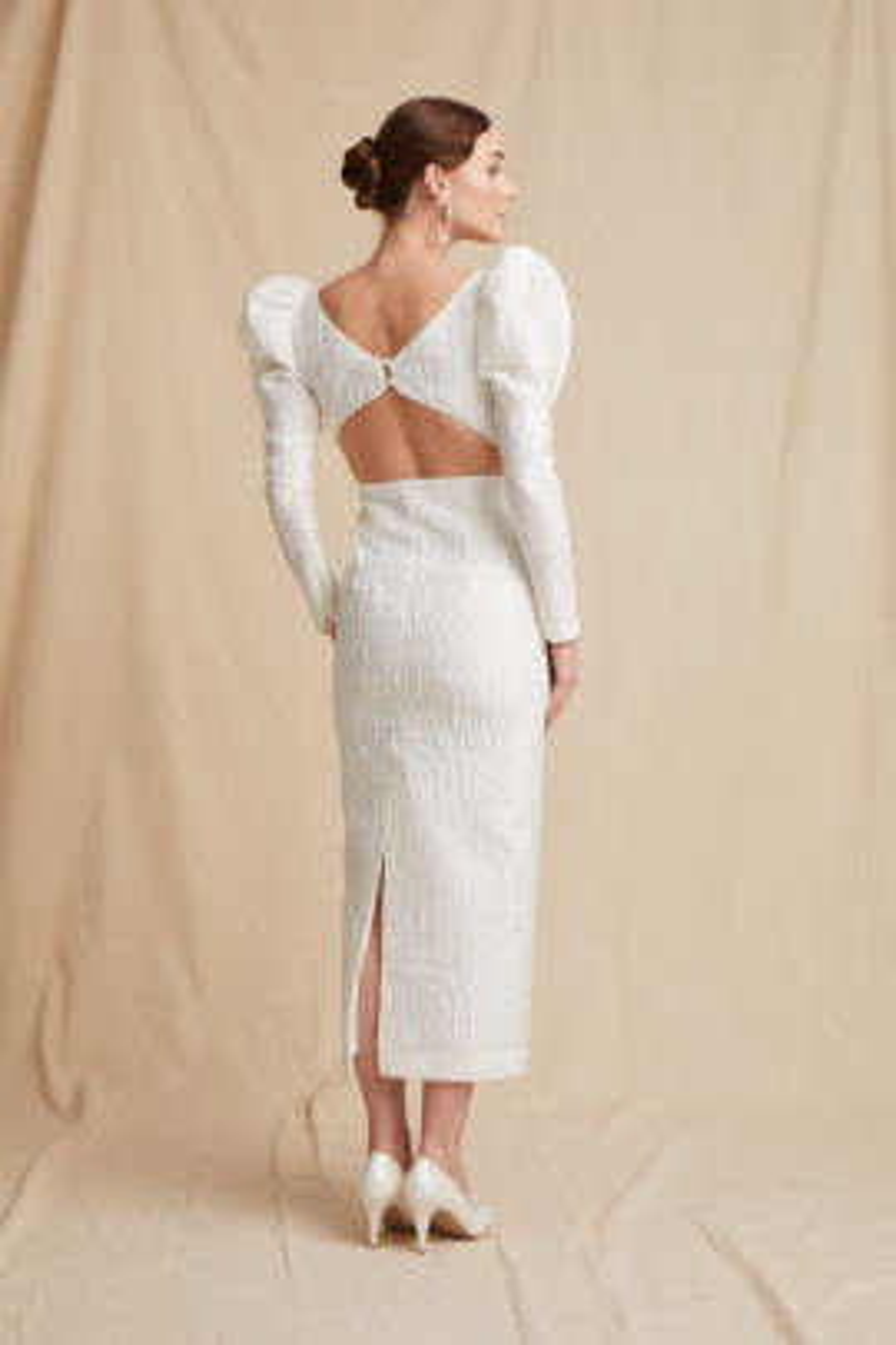 Beyaz Midi Elbise