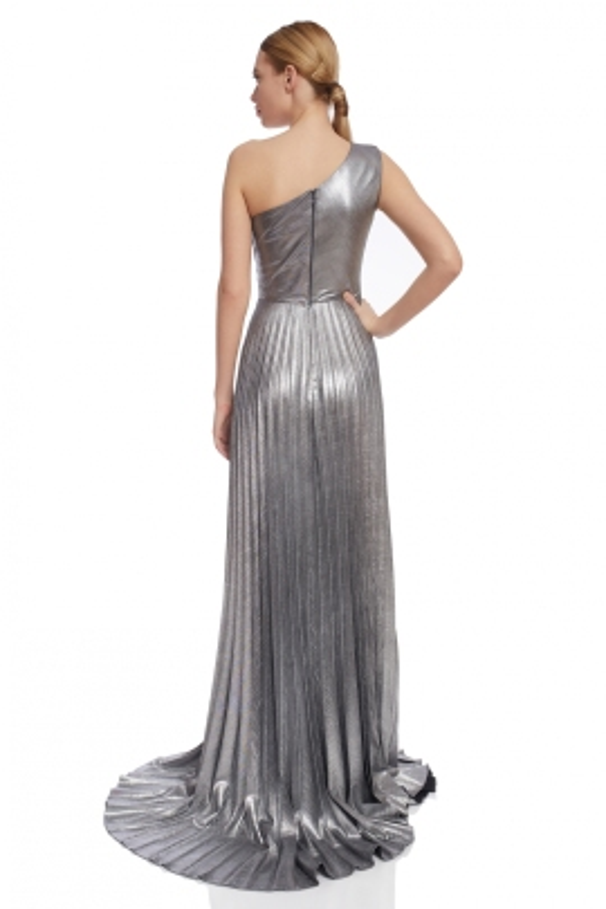 Veronica Gümüş Parıltılı Gece Elbisesi