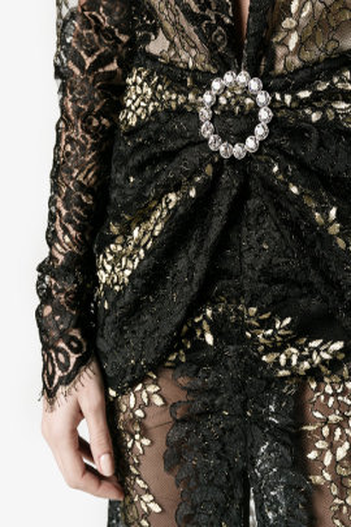 Siyah Dantel Gold Gece Elbisesi